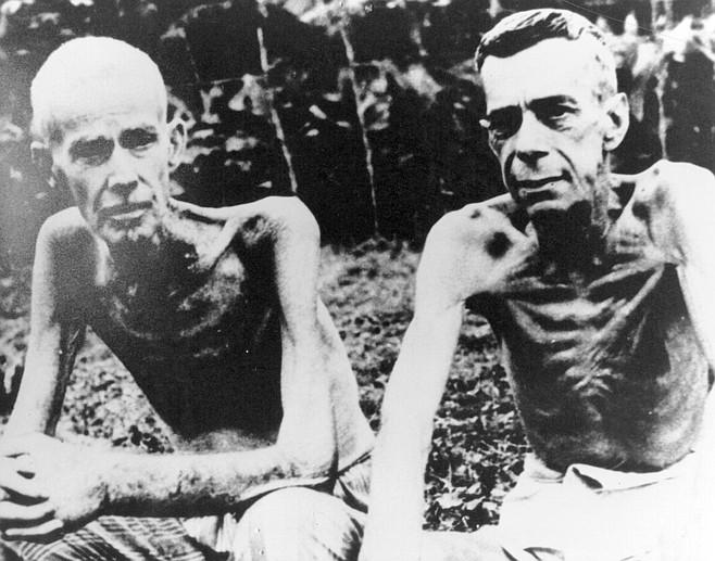 "Cabanatuan, central Luzon, Philippines, 1943. Nixon's diary: ""1/19/43 — Men are dying almost daily from beriberi, malaria, pellagra, heart, starvation, etc."""