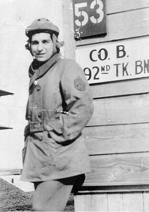 Lester Tenney, Fort Knox, 1941.  In 1940, when the native Chicagoan joined the National Guard, he had expected to serve a single year with the 192nd Tank Battalion and be back to civilian life before he reached his 22nd birthday.