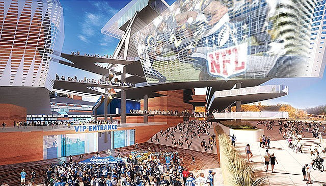 Artist's rendering of VIP entrance at proposed stadium