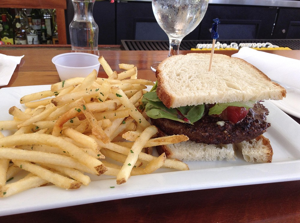 Burger on sourdough with blue cheese, bacon, pommes frites