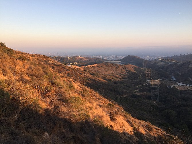 Near the start of the Cahuenga Trail, overlooking Hollywood Reservoir.