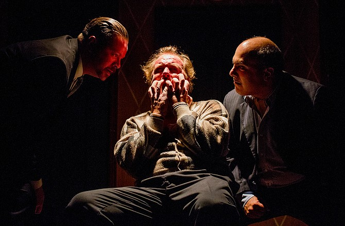 Richard Bairde, Max Macke, Matthew Henerson in The Birthday Party at New Fortune Theatre - Image by Daren Scott