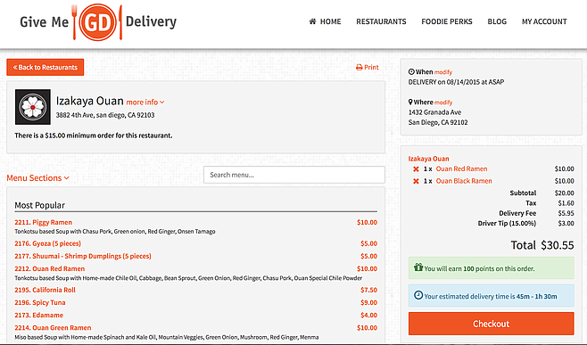 Working with the Give Me Delivery interface to get some ramen