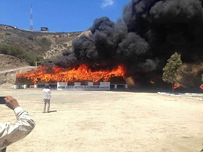 70 tons of drugs on fire in Tijuana on August 18