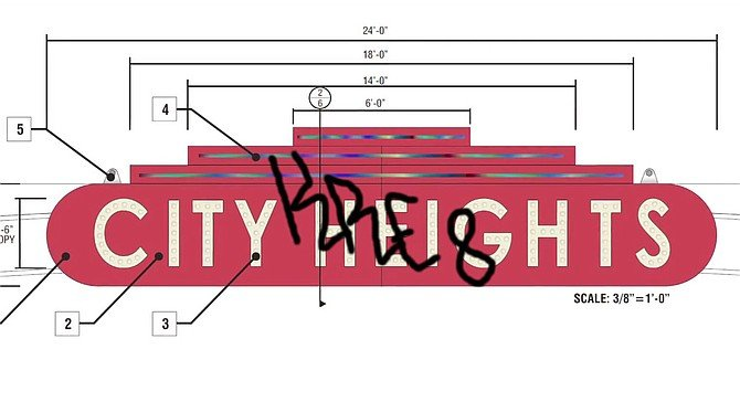 Screencap of the City Heights Improvement Association's (vandalized) proposal for the sign, sent as a PDF to Mayor Faulconer's office.