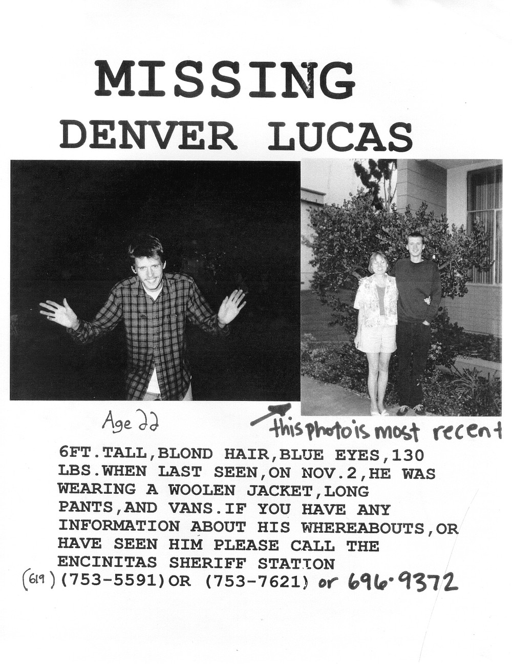 "Denver Lucas ""missing"" flyer"