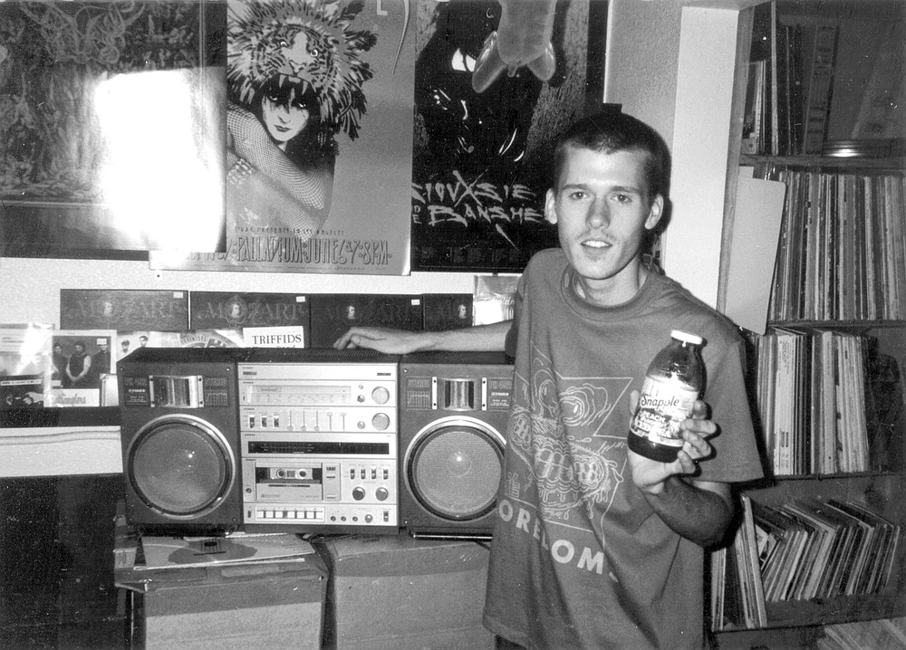 Denver Lucas at Lou's Records, 1994. Lucas greeted me warmly the next few times I visited Lou's used record and CD section, gave me copies of Powerdresser's records.