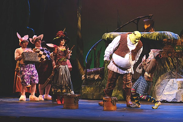 T.J. Dawson as Shrek and Company in Shrek: The Musical at Moonlight Stage