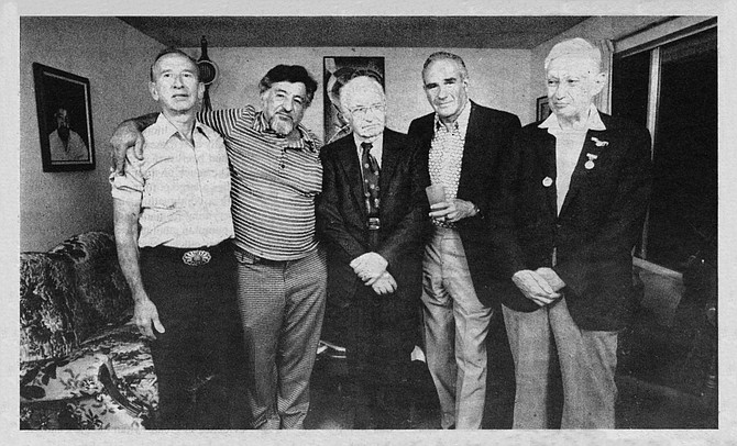 Sy Klein, Dave Chriss, Harry Holborn,  Ken Shaker, and George Auvan. These graying grandfathers, who now live in the suburbs of San Diego, together experienced the most exciting adventure of their lives.