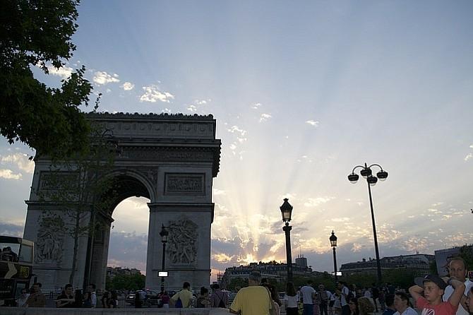 Arc de Triomphe at sunset.