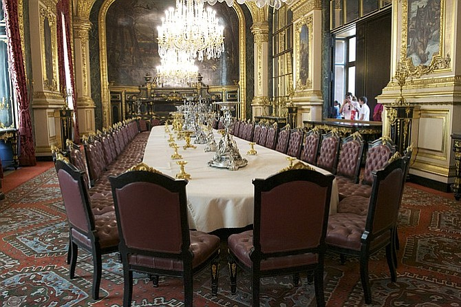 Dining room fit for a king (or emperor) in Napoleon's Apartments.