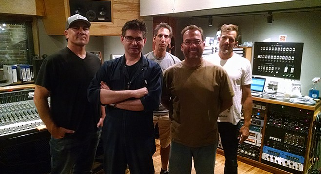 """For about $20,000 you too can book time and Albini (second from left) at his Electric Audio studio — lodging and """"fluffies"""" included."""