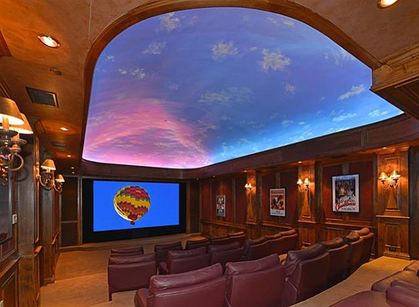 The theater room has a blue-sky ceiling...so you don't feel guilty about watching idiot box on a perfect-weather day?