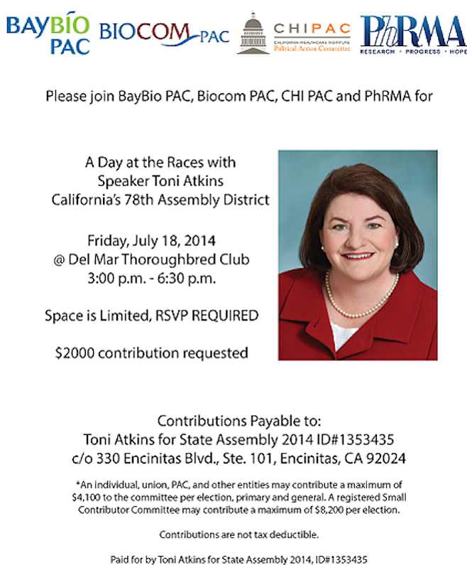 Biotechs threw this hefty fundraiser for Toni Atkins