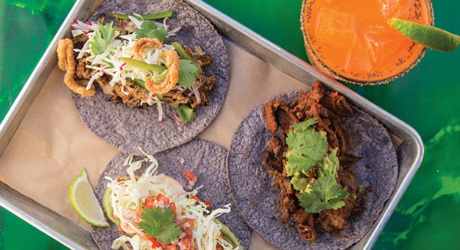 Gourmet tacos and the Margarita Zanahoria at Galaxy Taco