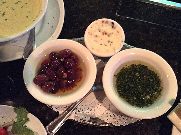 Olives, herbal butter, chimichurri