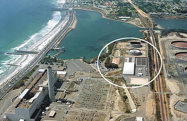 Carlsbad desalination plant (circled) is next to the Encina Power Station.