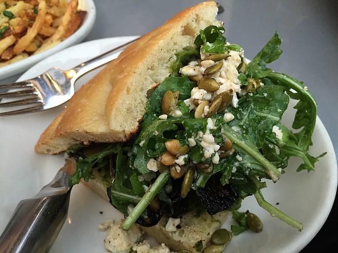 Squash sandwich, a fresh and tasty salad in a bun