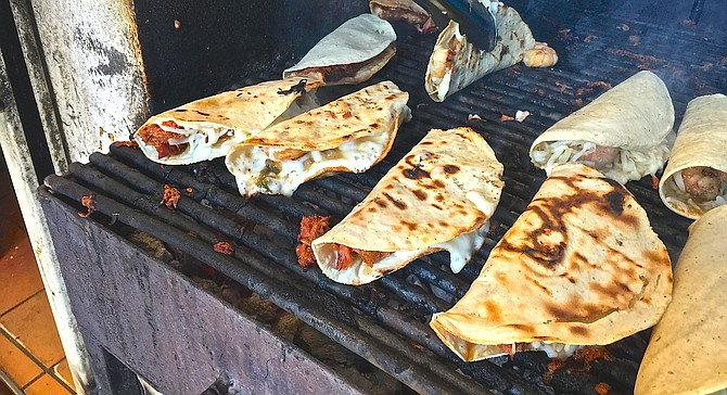 Marlin and gobernador tacos on the charcoal grill