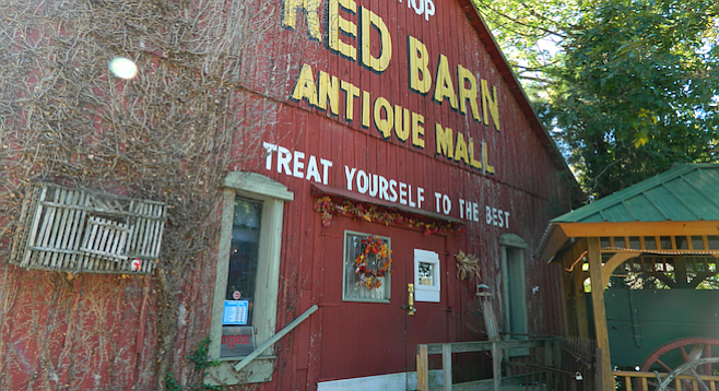 Red Barn Antique Mall in Corydon, IN. The shops aren't afraid to look Midwestern here.