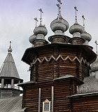 Close-up of wooden shingles on onion domes