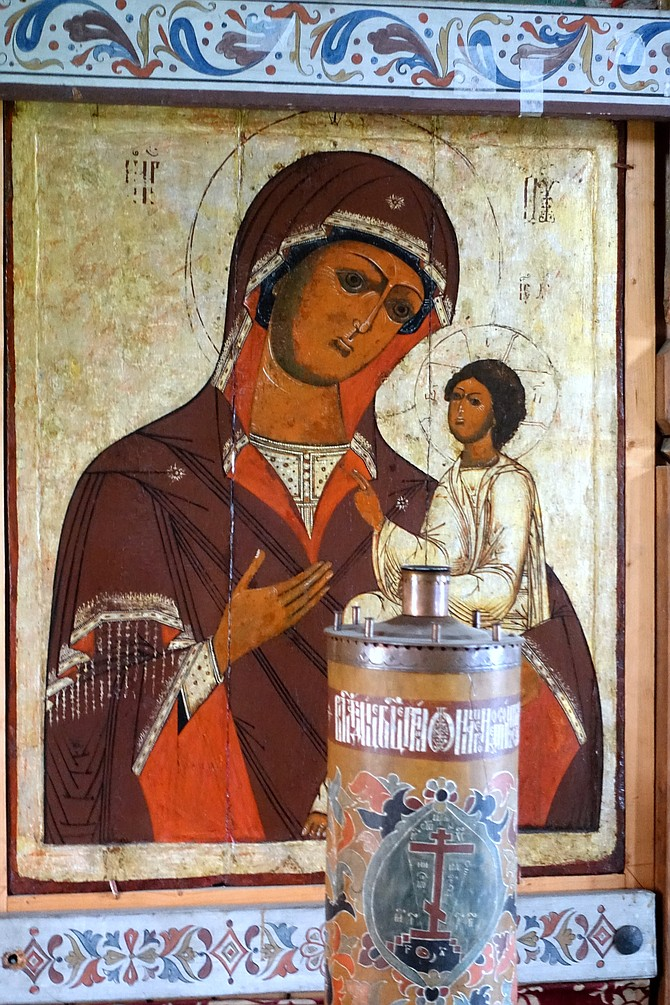 Traditional icons inside Church of the Intercession
