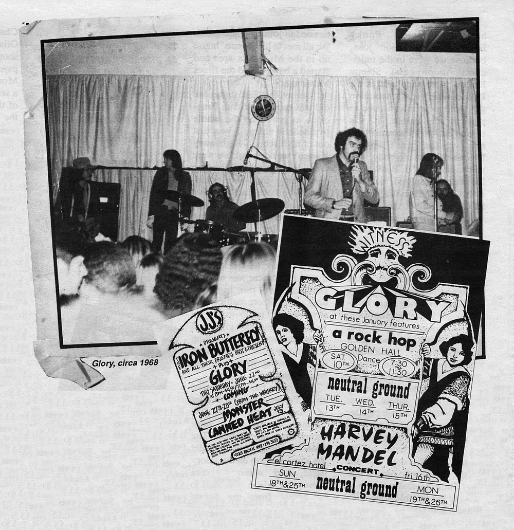 """Glory played covers not of Top 40 hits but of songs that no one had ever heard of - obscure Yardbirds sides like """"Think About It"""" and """"I Wish You Would,"""" obscure Animals cuts like """"A Girl Named Sandoz."""""""