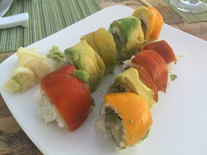 The Marco Pollo roll, with red peppers and avocado