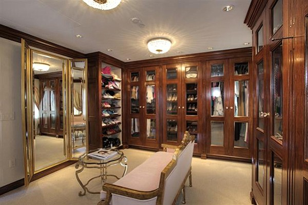 Wood-paneled walk-in closets