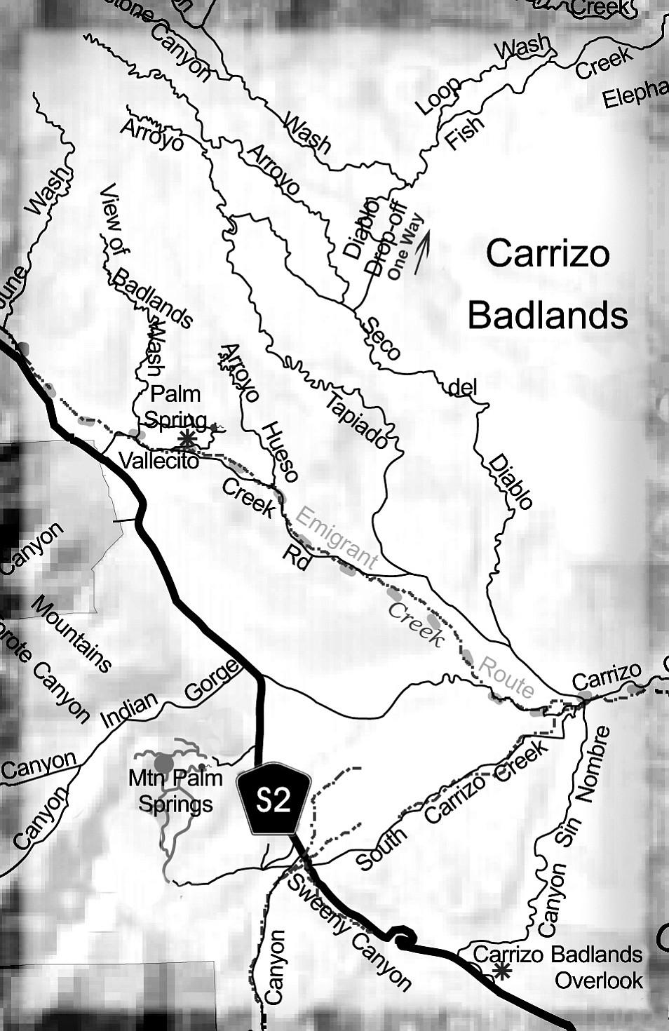 U.S. Parks Department map of Carrizo Badlands