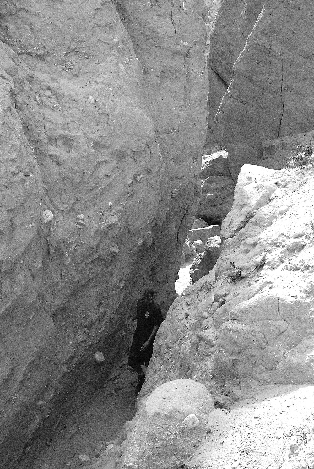 Slot canyon. At the mouth of the slot canyon, the hills had taken on a gothic appearance - ribs and spires and columns, buttresses, arches.
