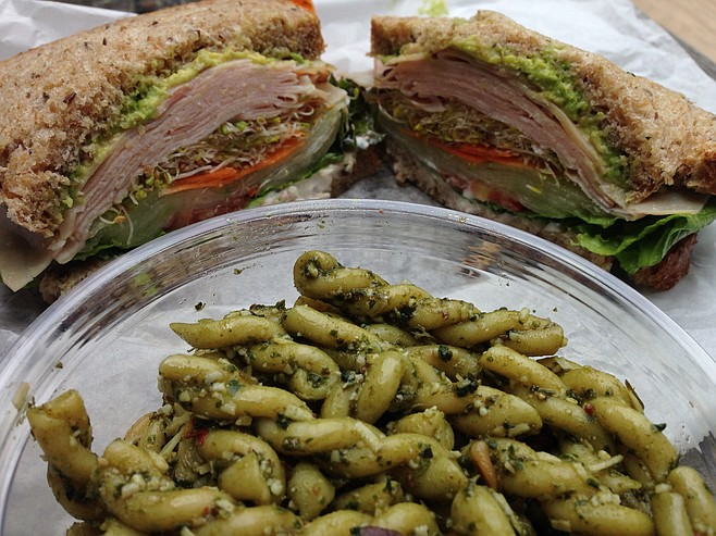 A nice spiral on that pasta and unnecessary ham added to the shaved-vegetable sandwich
