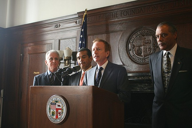 Austin Beutner (center) at the L.A. mayor's office