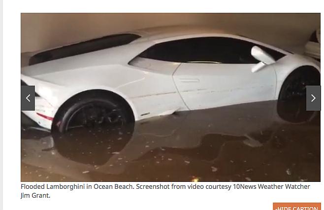 10News (and photographer Jim Grant) reported the Lamborghini's demise.