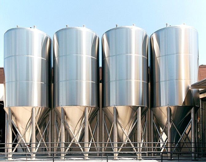 A set of shiny new (outdoor) fermenters for Coronado Brewing Co.