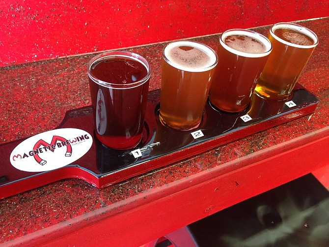 A taster flight of the first four beers offered by Magnetic Brewing