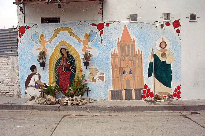 Street altars are a common sight while walking around town.