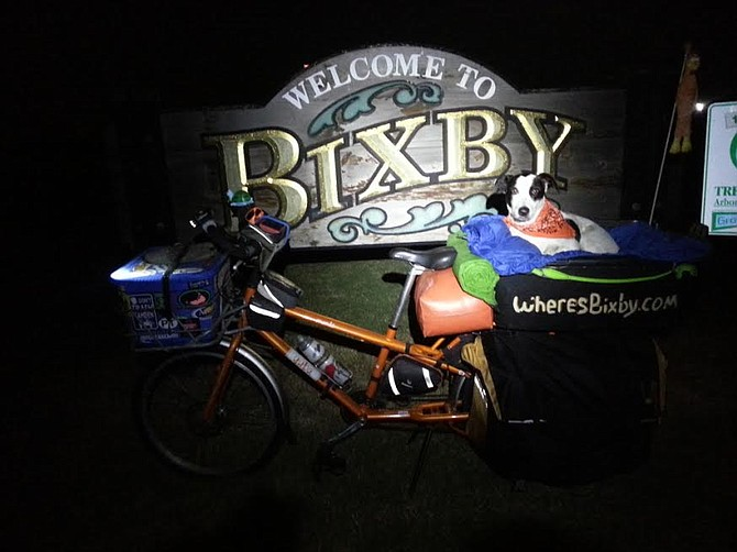 Bixby on the cargo bike in Bixby, Oklahoma
