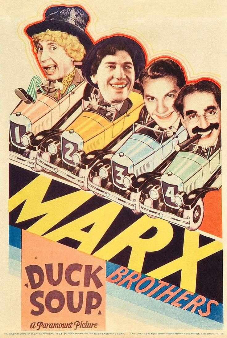 Original theatrical one-sheet featuring the 4 Marx Bros. in Duck Soup, 1933.