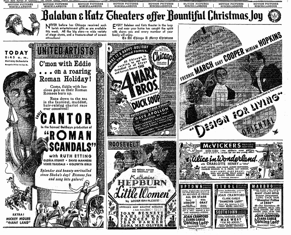 Christmas with the Marx Brothers! THE CHICAGO TRIBUNE, December 25, 1933.