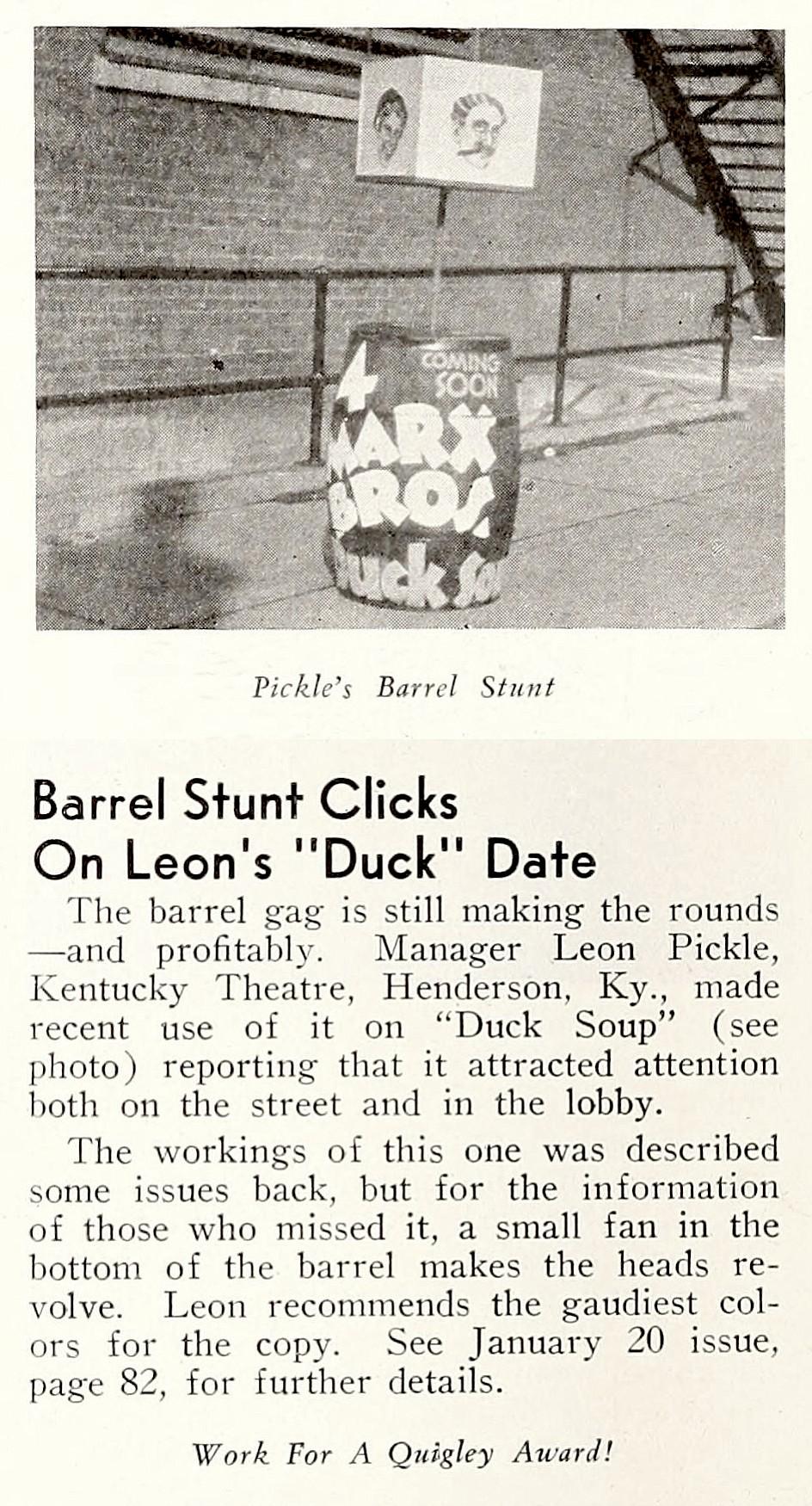 The old barrel gag! SHOWMEN'S TRADE REVIEW, April 21, 1933.