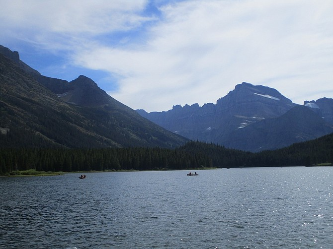 One last view across Swiftcurrent Lake.