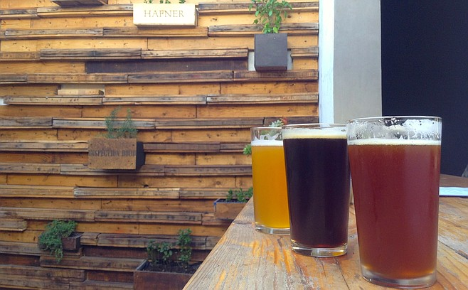 Starter beers in the small patio: Belgian Pale Ale, Brown Ale, and Pale Ale