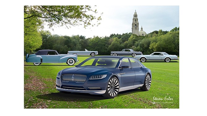 Continental Concept is prototype for new Lincoln Continental, heir to iconic nameplate, shown here with famous past Lincoln models.
