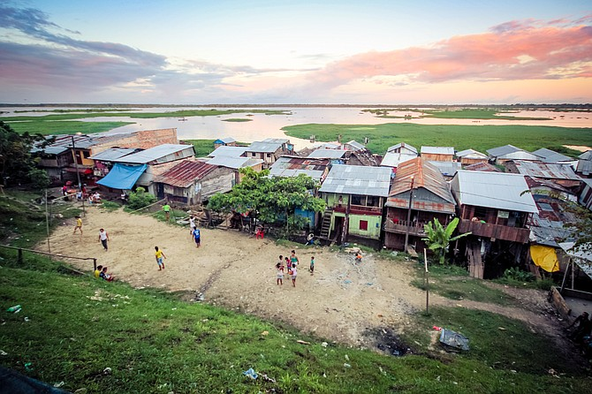 Slums on the Amazon River  Shot in Iquitos, Peru