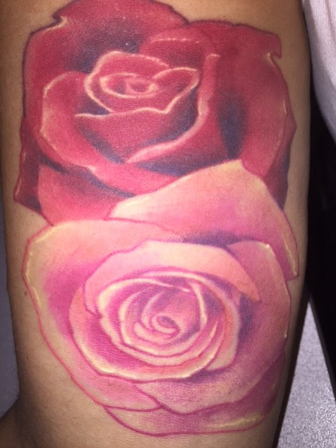 Earlier this year I got 2 roses on my inner bicep, one for my mom and one for my grandmother, who died when my mother was a little girl. Both of their names are Rose. It's doubly special to me as I got it in Spain where my dad recently moved to. I'm 29 years old, live in San Diego and work in insurance.