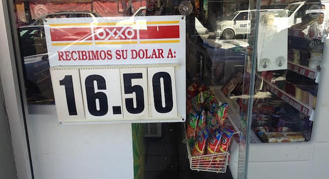Peso value at an Oxxo convenience store