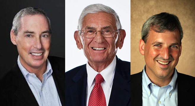 Eli Broad, flanked by Dan (left) and Jon Schnur