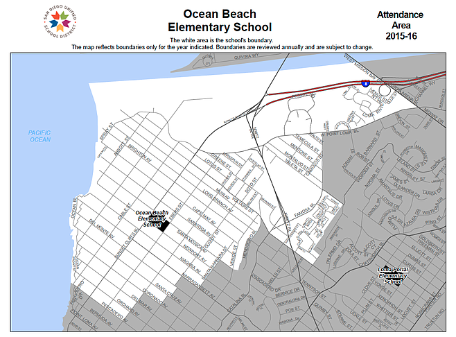 Ocean Beach school attendance area map