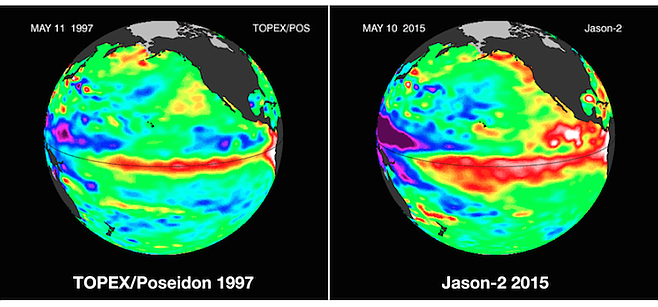 Comparison of ocean water temperatures in 1997 and 2015